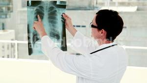 Doctor analyzing xray results