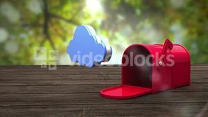 Post box opening to show cloud