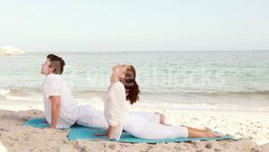 Peaceful couple stretching at the beach