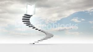 Steps with opening door in the sky with clouds