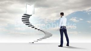 Businessman looking at steps with an opening doors in the sky with clouds