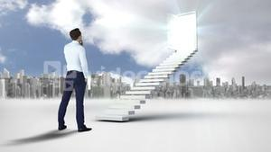 Businessman looking at stair with an opening doors in front of a city