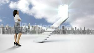 Businesswoman looking at stair with an opening door in front of a city