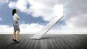 Businesswoman looking at stair with an opening door on wood ground