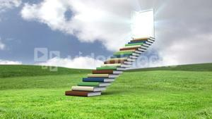 Stair made of books with an opening door on a green commun field