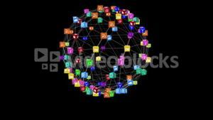 App icons forming spinning sphere