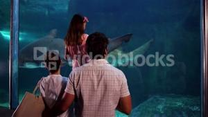 Happy family looking at fish in the tank