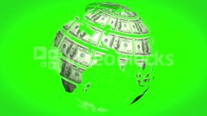 Earth made of dollars spinning on green screen background