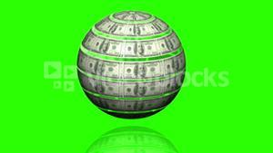 Globe made of dollars spinning on green screen background