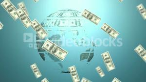 Money coming on and earth made of dollars