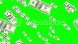 Money coming on on green screen background