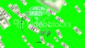 Money coming on and earth made of dollars on green screen background