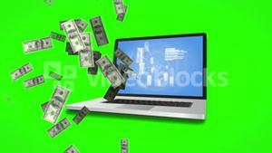 Money coming out of a laptop on green screen background