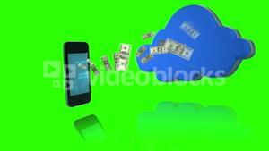 Money coming out of a smartphone and coming in a cloud on green screen background