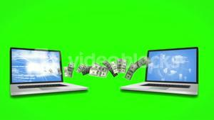 Money coming out and coming in of laptops on green screen background