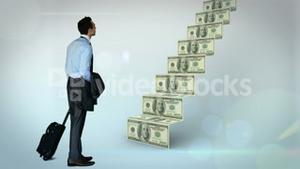 Businessman looking at money steps