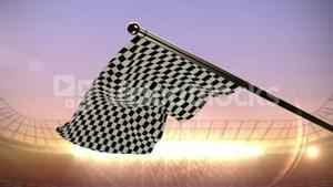 Checkered flag waving in arena