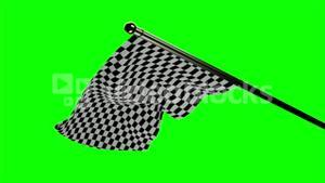 Checkered flag waving on green screen