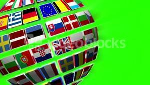 Nationals flags of European country turning on green screen