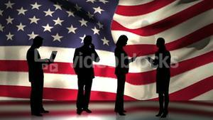Business people in front of USA flag