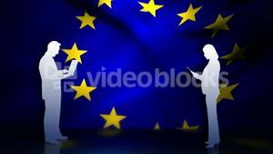 Business people in front of European flag
