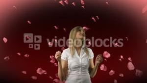 Woman Looking at Roses Falling 1