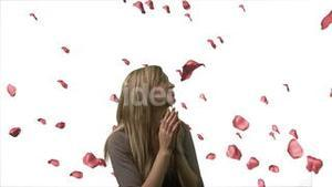 Woman Looking at Roses Falling 2
