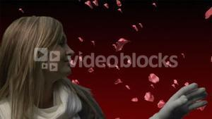 Woman Looking at Roses Falling 3