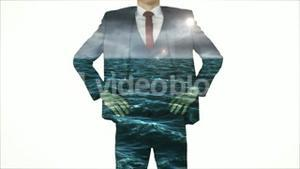 Businessman with choppy ocean overlay