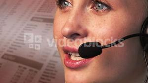 Young Businesswoman talking and Smiling on a headset