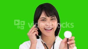 Asian nurse with a stethoscope