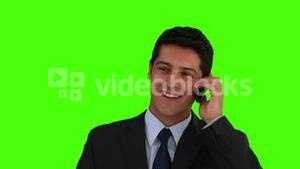 Young businessman having a phone call