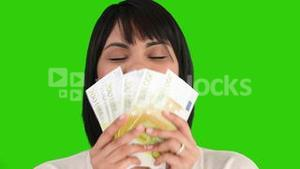 Nice asian woman showing us her money
