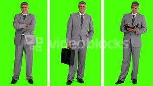 Three different situations where we can see a businessman in a gray suit