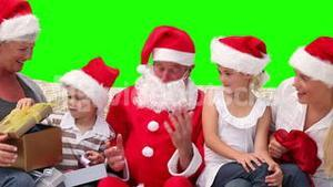 Christmas in a family with Santa Claus