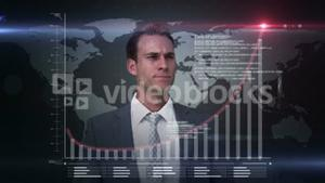 A businessman using a digital interface