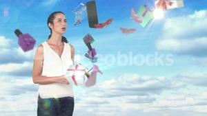 Surprised woman holding tablet computer and discovering e-shopping offer