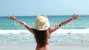 Rear view of pretty brunette standing with arms outstretched