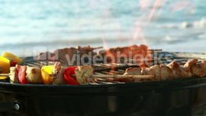 Close up of barbecue on the beach