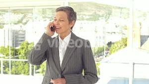 Smiling businesswoman having a phone call