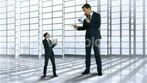 Giant boss yelling on scared businessman with megaphone