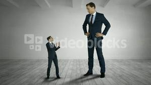 Giant boss yelling on scared businessman