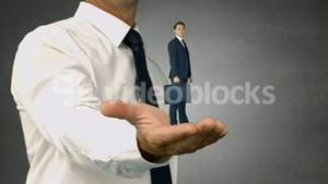 Giant boss holding businessman with suitcase