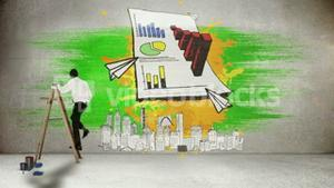 Businessman on ladder painting on wall