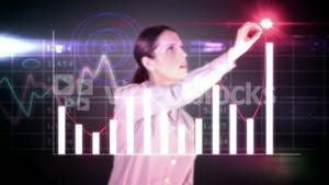 Happy businesswoman drawing hologram graph