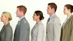 Business people standing line up
