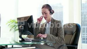 Businesswoman working on call center