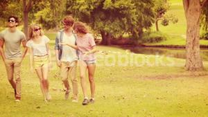Group of friends walking in the park