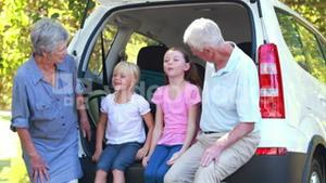 Happy family sitting on car boot