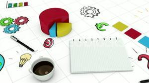 Digital animation of graph and notebook